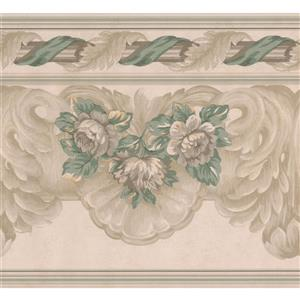 "Retro Art Floral Wallpaper Border - 15' x 9"" - Beige"