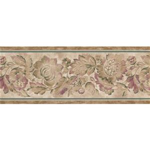 "Retro Art Abstract Floral Wallpaper Border - 15' x 9"" - Beige"