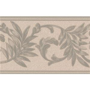 "Retro Art Floral Wallpaper Border - 15' x 5"" - Beige"