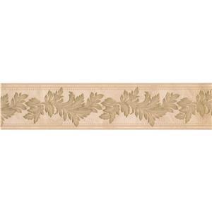 "Retro Art Leaves Floral Wallpaper Border - 15' x 5"" - Beige"