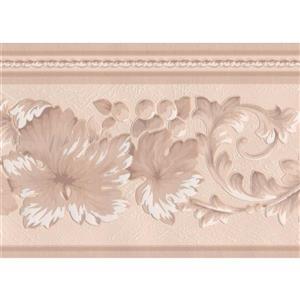 """Retro Art Lace Floral Wallpaper Border - 15' x 7"""" - Beige"""