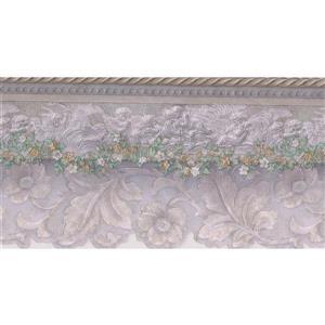 """Retro Art Floral Wallpaper Border - 15' x 4.5"""" - Lilac"""