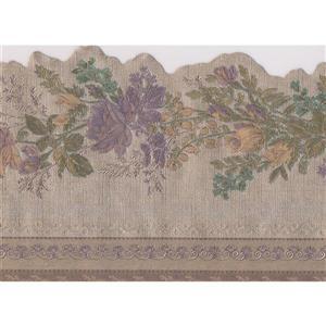 "Retro Art Floral Wallpaper Border - 15' x 4.25"" - Taupe"