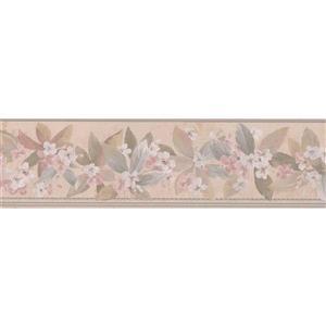 "Retro Art Flowers Wallpaper Border - 15' x 5.75"" - Beige"
