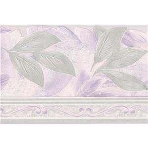 "Retro Art Leaf Wallpaper Border - 15' x 5.75"" - Purple"