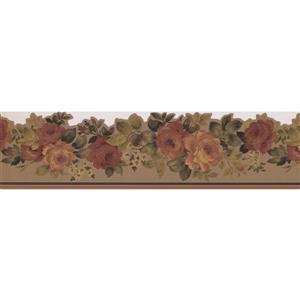 "Retro Art Blooming Roses Wallpaper Border - 15' x 6"" - Taupe"