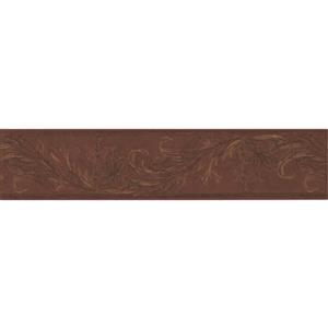 "Retro Art Floral Modern Wallpaper Border - 15' x 5.25"" - Brown"