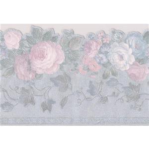 "Retro Art Blooming Roses Vintage Wallpaper Border - 15' x 4.1"" - Gray"