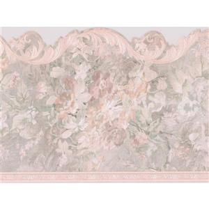 "Retro Art Floral Wallpaper Border - 15' x 7"" - Beige"