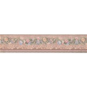 "Retro Art Flowers Vintage Wallpaper Border - 15' x 5"" - Pink"
