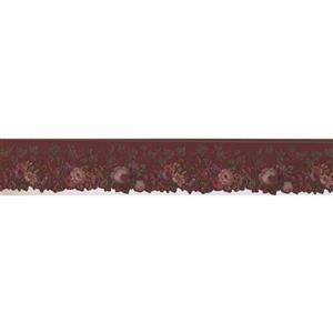 "Retro Art Blooming Roses Vintage Wallpaper Border - 15' x 4"" - Red"