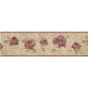 "Retro Art Vintage Floral Wallpaper Border - 15' x 7"" - Purple"
