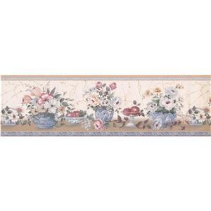 """Retro Art Flowers in Pots Wallpaper Border - 15' x 7"""" - Multicolour"""