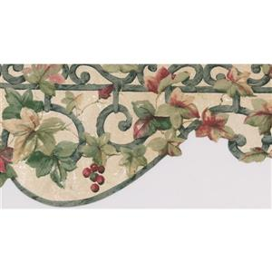 Norwall Floral Cherry Wallpaper Border - 15' x 6.25-in- White
