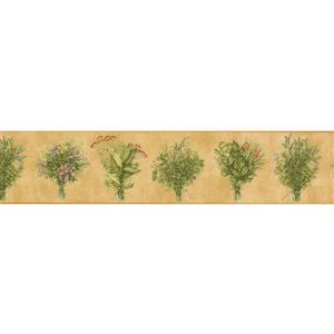Norwall Green plants Flowers Wallpaper Border - 15' x 5.25-in- Yellow