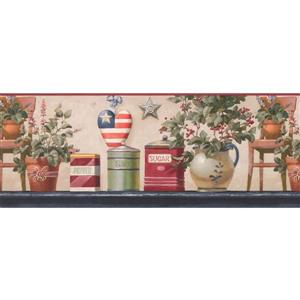 """Retro Art Floral Wallpaper Border - 15' x 9"""" - Multicolour"""