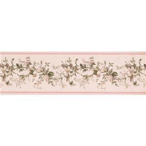 "Retro Art Flowers on Vine Wallpaper Border - 15' x 7"" - Pink"