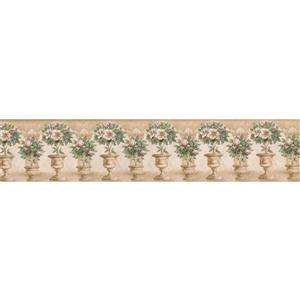 "Retro Art Flower Pot Wallpaper Border - 15' x 5.25"" - Beige"