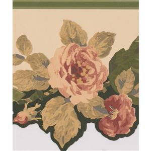 Norwall Flowers Design Wallpaper Border - 15' x 8-in- Beige