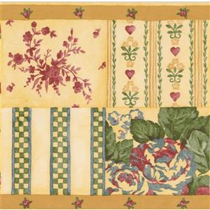 Norwall Variety Floral Wallpaper Border - 15' x 7-in- Yellow