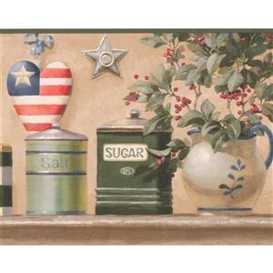 """Retro Art Floral Design Wallpaper Border - 15' x 9"""" - Multicolour"""