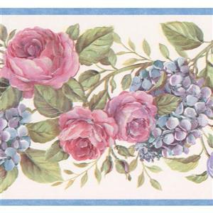 "Chesapeake Floral Roses Design Wallpaper Border - 15' x 6.75"" - White"