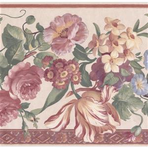 """Retro Art Floral Nature Wallpaper Border - 15' x 10"""" - Multicolour"""
