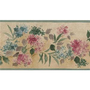 Norwall Blooming Flowers Wallpaper Border - 15' x 3.5-in- Multicolour