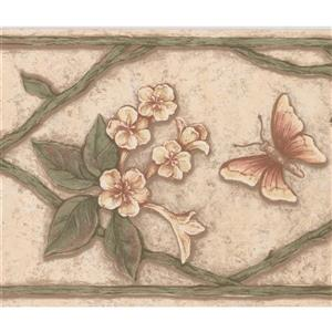 "Retro Art Floral Butterfly Wallpaper Border - 15' x 7"" - Multicolour"