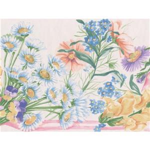 """Retro Art Colourful Floral Wallpaper Border - 15' x 7"""" - Multicolour"""