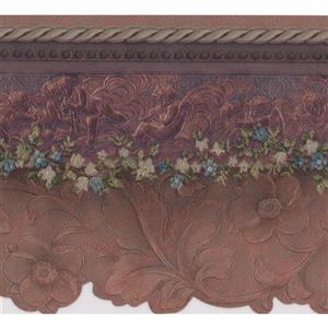 "Retro Art Flower Wallpaper Border - 15' x 5.25"" - Purple"