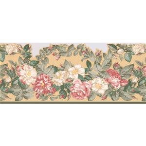 "Retro Art Peony Flowers Wallpaper Border - 15' x 10.2"" - White"