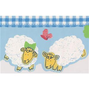 Norwall Sheep Wallpaper Border - 15' x 6-in- Blue