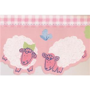 Norwall Sheep for Kids Bedroom Wallpaper Border - 15' x 6-in- Pink