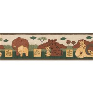 Norwall Elephant Lion Tiger Wallpaper Border - 15' x 7-in- Brown