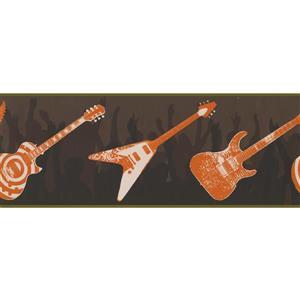 York Wallcoverings Guitars People Dancing Wallpaper Border - 15-ft x 9-in - Orange