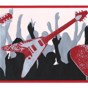 York Wallcoverings Guitars People Dancing Wallpaper Border - 15-ft x 9-in - Red