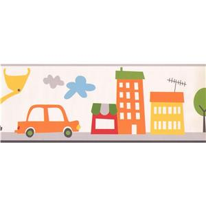 York Wallcoverings Urban View Cartoon Wallpaper Border - 15-ft x 9-in - White