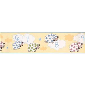 York Wallcoverings Sleeping Sheep Count Wallpaper Border - 15-ft x 6-in - Yellow