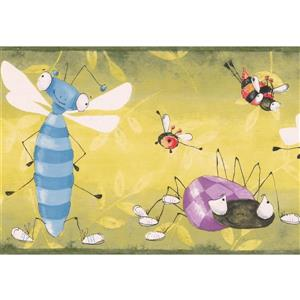 "Retro Art Bugs Bees Wallpaper Border - 15' x 7"" - Multicolour"