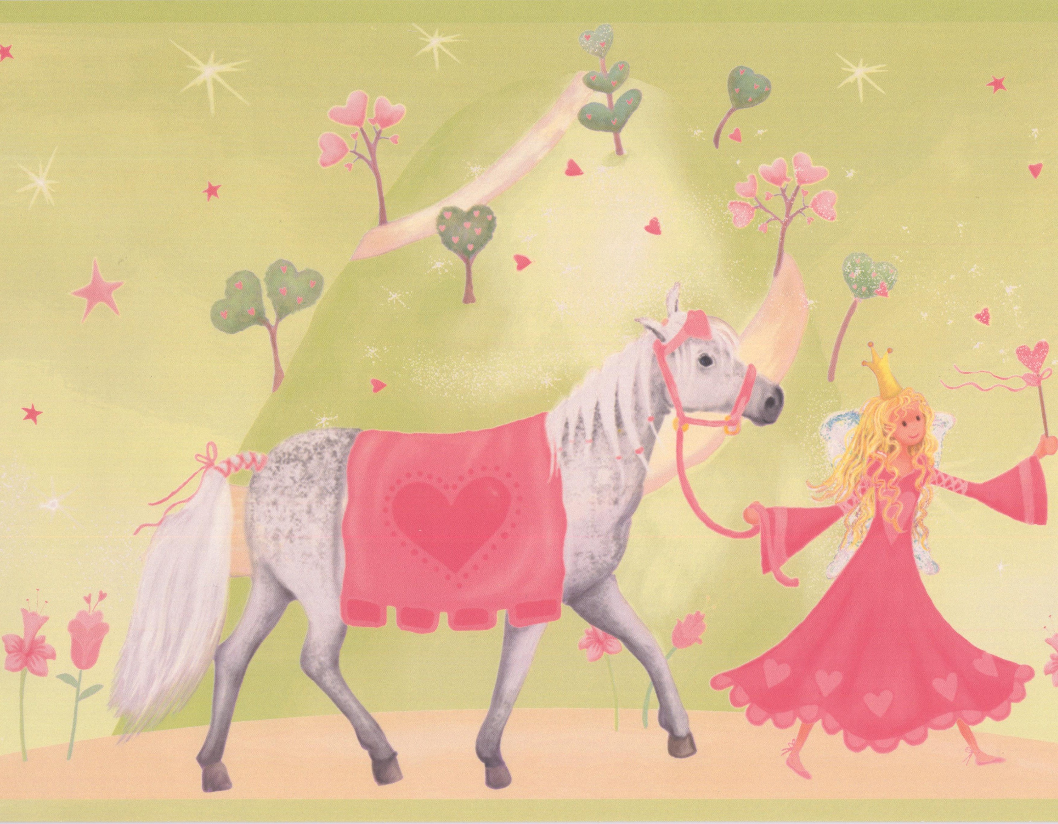 York Wallcoverings Princess Castle Horse Wallpaper Border 15 Ft X 9 In Green Lowe S Canada