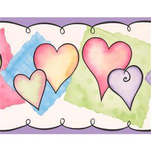 York Wallcoverings Hearts Wallpaper Border - 15-ft x 7-in - Multicolour