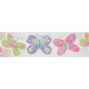 York Wallcoverings Butterflies Wallpaper Border - 15-ft - Pink