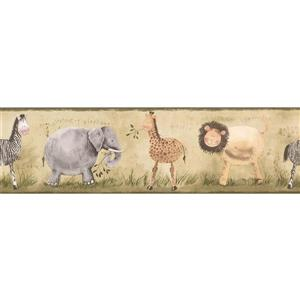 York Wallcoverings Elephant Zebra Giraffe Wallpaper Border - 15-ft x 7-in - Beige