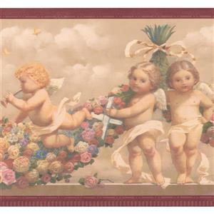 """Retro Art Baby Angels Wallpaper Border - 15' x 9"""" - Beige"""