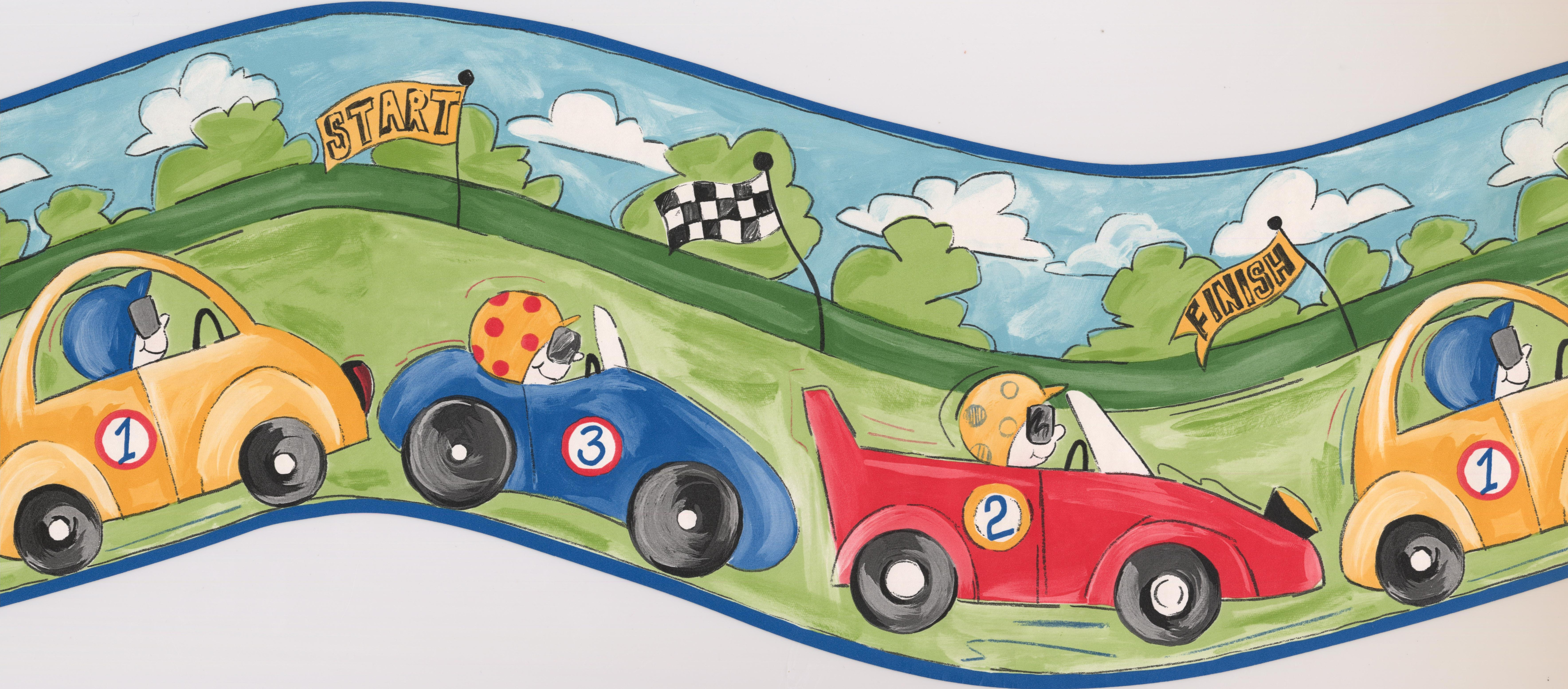 Retro Art Race Cars Wallpaper Border 15 X 10 Lowe S Canada