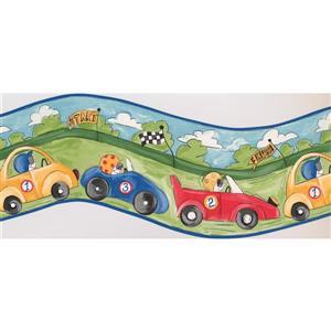"Retro Art Race Cars Wallpaper Border - 15' x 10"""