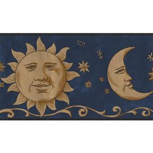 Norwall Smiling Sun Moon Wallpaper Border - 15' x 7-in- Blue