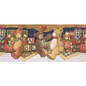 Norwall Teddy Bears Wallpaper Border - 15' x 10.25-in- Brown