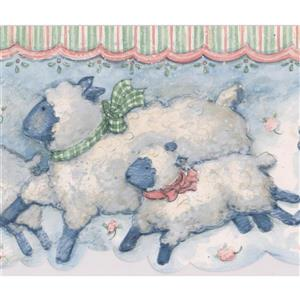 Norwall Sheep Vintage Wallpaper Border - 15' x 7-in- Blue